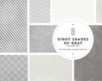 Eight Shades of Gray Digital Paper Set, INSTANT DOWNLOAD - DP103
