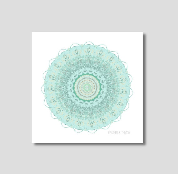 Teal Color Wall Decor : Dark teal wall decor mandala print taupe by