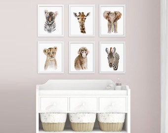 Baby Animal Prints, Safari Nursery Art Print Set, Jungle Animals, Nursery Prints, Animal Art, Lion, Giraffe, Tiger, Elephant, Monkey, Zebra