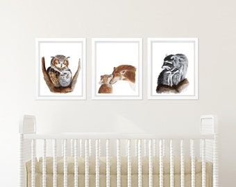 Set of 3 Animal Prints, Woodland Nursery Art, Mother and Baby Woodland Animals, Owl, Fox, Raccoon, Baby Room Decor, Print Set