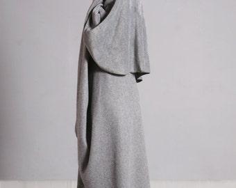 Fleece Cape, Gray Wrap Cardigan, Fleece Cardigan, Wrap Cape, Midi, Long Cape, Fleece Jacket, Womens Cloak, Autumn Winter