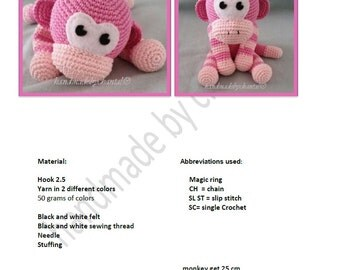 crochet pattern little monkey
