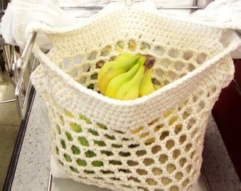 Crocheted  market bags, set of 3, medium HANDS FREE