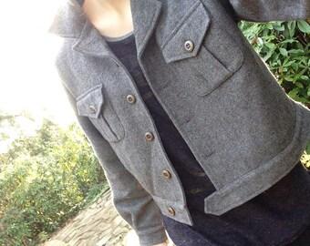 SALE 36% OFF Vintage Grey Wool Jacket