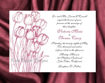 Tulip Flower Floral  Wedding  Invitation & RSVP  - Floral Wedding Invitation and RSVP - Tulips- Flower Design 27