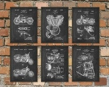 The Ultimate Harley Davidson Motorcycle Patent Print Set of 6 - Classic Motorcycle Art - American Motorcycle - Motorcyclist Gift Idea