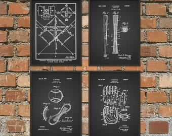 Baseball Patent Wall Art Poster Set of 4 - Baseball Sports Gift - Home Run - Softball - Pitcher - Curveball - Gift Ideas For Him