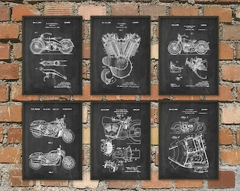 Harley Davidson Motorcycle Patent Print Set of 6 - Classic Motorcycle Art - American Motorcycle - Motorcyclist Gift Idea - Garage Mechanic