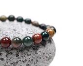 Bloodstone Bracelet -Healing Gemstone Bracelet, Heliotrope, Bloodstone Jewelry, Blood Stone Bracelet, Mens Bracelet, Unisex