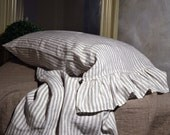 Ruffled pinstriped linen pillow case. Standard and King sizes/ Natural stonewashed linen/ Pure linen bedding