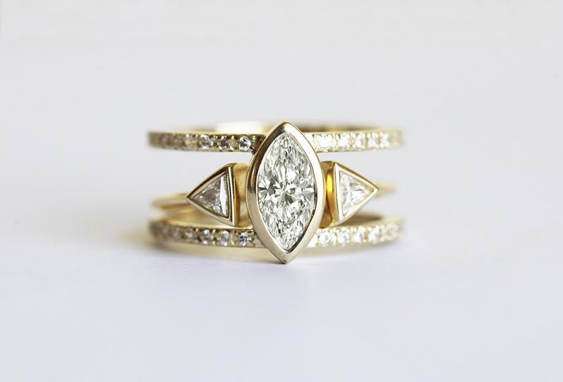 Diamond Engagement Ring Set Trillion And Marquise