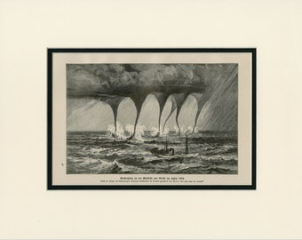 Matted Tornado Storm at Sea Print  Meteorology Severe Weather Ocean Twisters Antique C.1900  11x14""
