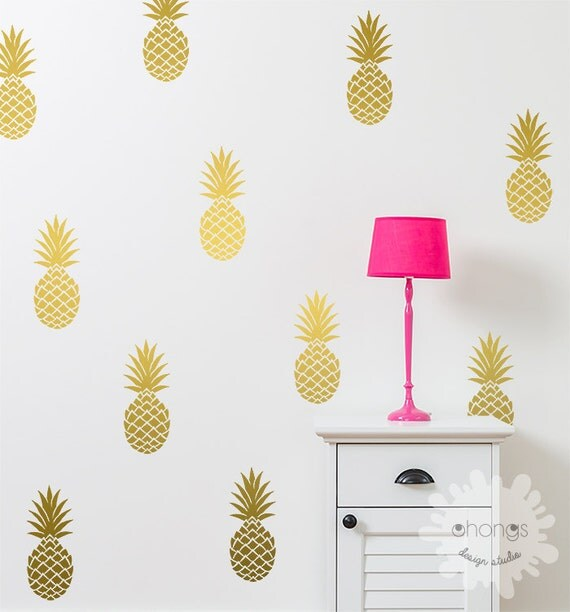 Pineapple Wall Decal / Large 12 Pineapples Sticker / Home decor / Party Decor / Nursery Wall Decal / gift