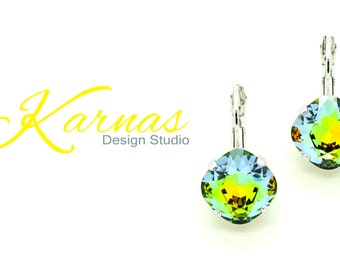 GOLDEN SAHARA 12mm Crystal Cushion Cut Earrings Made With Swarovski Elements *Pick Your Finish *Karnas Design Studio *Free Shipping*