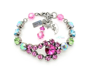 CARIBBEAN NIGHT Bracelet 8MM & 12Mm Swarovski Element Stones *Pick Your Finish *Karnas Design Studio *Free Shipping*