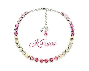MOSAIC PINK 8mm Necklace Made With Swarovski Crystal *Choose Your Finish *Karnas Design Studio™ *Free Shipping*