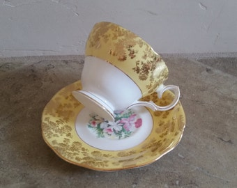 Vintage Yellow Teacup and Saucer Queen Anne Fine Bone China England