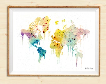 World Map Illustration | Watercolor art print | Wall decor | Home decor | Watercolor digital art | Wedding gift | Gift idea