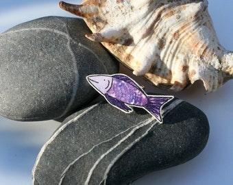 Fish Illustration Shrink Plastic Adjustable Ring (Purple)