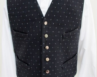 Gentlemen's Vintage Waistcoat Paris France Polka Dot Wool Size 38 inch chest Victorian Edwardian Medium