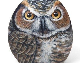 Original Hand Painted Rock Owl! A Stunning Piece for Owl Lovers!