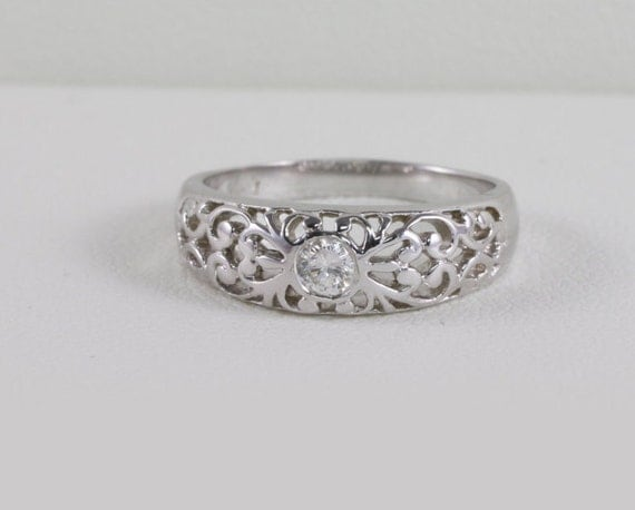 Affordable Art Deco Engagement Ring Antique Filigree Styled