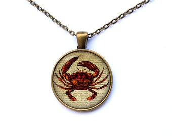 Crab pendant Art necklace Nautical jewelry CWAO53-1