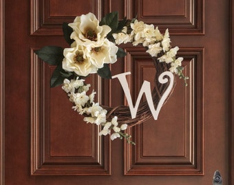 Graceful Magnolia Monogram Wreath | Summer Wreaths | Front Door Wreaths | Personalized Wreath | Housewarming Gift