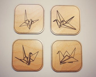 Origami Coasters - Set of 4 - Laser Cut Maple Wood - Origami Crane
