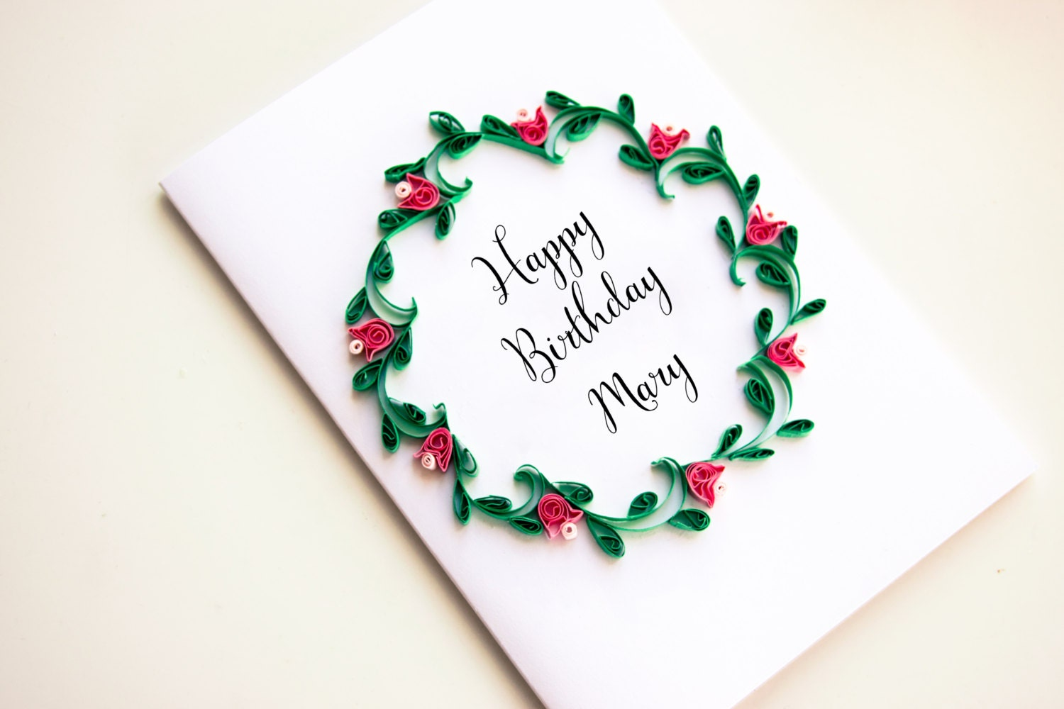 Personalized Greeting Card Floral Wreath with custom name – Custom Happy Birthday Card