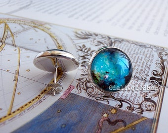 Nebula post earrings seahorse nebula stud mint blue turquoise galaxy posts 12mm 14mm outer space e90s