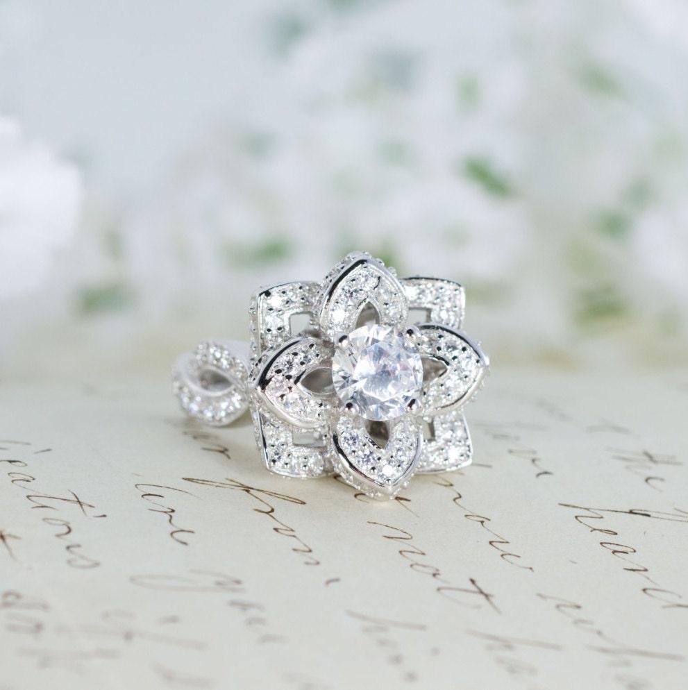 Wedding Flowers And Rings: Lotus Flower Ring Lotus Engagement Ring Wedding By MochaRings
