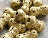 African  Lost Wax Brass Bead (28 by15 mm) Five African Brass Drum Beads,African Brass,Tribal Brass, Ghana Brass Beads,Ashanti Brass Beads
