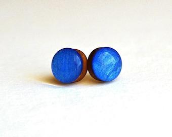 small stud earrings , blue post earrings , navy blue earrings , boho wood earrings , wood earrings gift