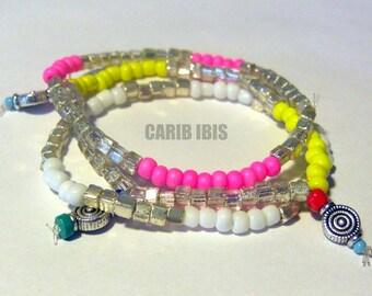 Fluorescent Multicolored Bracelet Set of 3