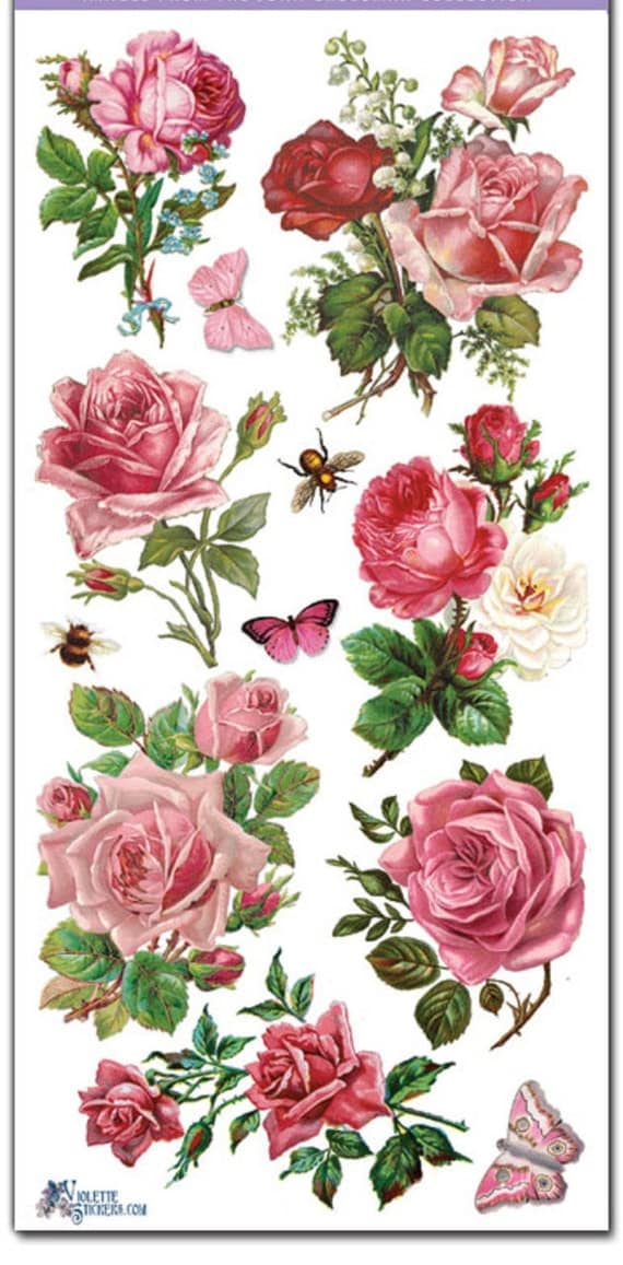 Stickers-PINK ROSES-Decoupage-Collage-Mixed