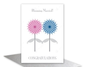 Blooming married!WEDDING congratulations CARD Funny wedding greeting cards Pink & blue flowers Bride and groom card add personalised message