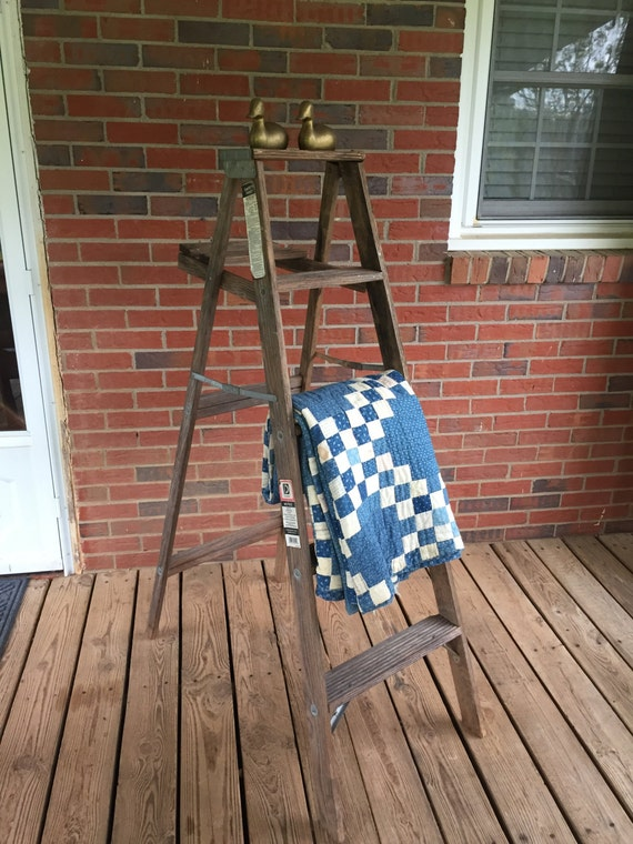 Items similar to vintage wooden 5 step ladder for decorating on etsy