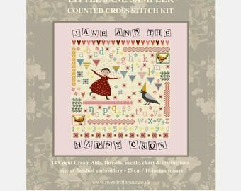 CROSS STITCH KIT Little Jane Sampler by Riverdrift House