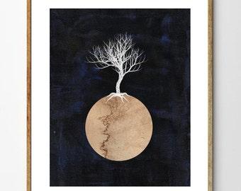 Silver Tree - Surreal Art, Tree of Life Art, Tree Painting, Scandinavian Print, Space Art, Geometric Art, Mixed Media, Nature Art, Abstract