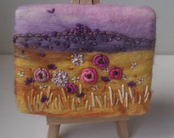 Peace In The Field - Needle & Wet Felted Miniature Textile Artwork With Easel