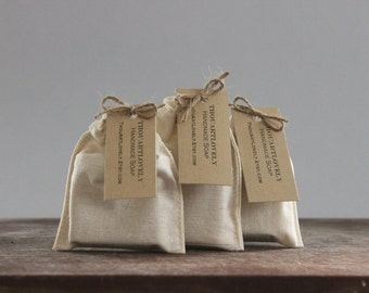 Soap Favors Wedding  Party Favor 5 Guest soaps Sample Soap  Handmade  Calico Pouch
