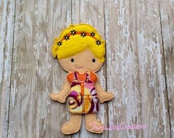 Brianna Felt Non Paper Doll, Unpaper Doll, Educational Toy, Pretend Play, Travel Toy, Dress Up Doll, Quiet Play, Felt Flat Doll