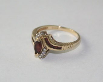 SALE Gold Diamond, and Orange Tourmaline Ring