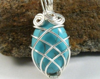 "Wire Wrapped Turquoise Howlite Pendant Necklace, turquoise cabochon, silver 18"" chain, silver plated wire wrapped jewelry"