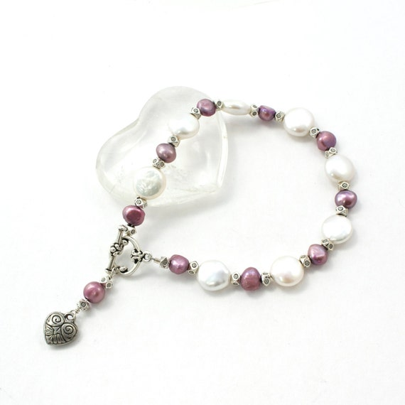 Freshwater Pearl and Pewter Handmade Bracelet with Heart Charm