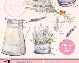 Lavender Garden Watercolor clipart set. Illustration, Printable, Instant Download, PNG - personal and small commercial use