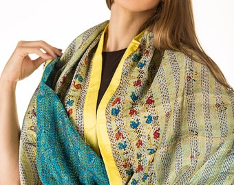 Vintage Reversible Kantha Silk Scarf Hand Stitched One-of-a-kind with Silk Border and Mirror Tassels- Free shipping in US