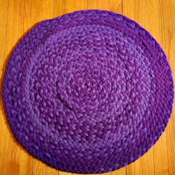 Purple Rug Braided with Upcycled Tshirts Kitchen Mat