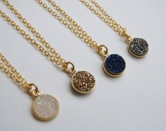 Round Druzy Necklace, Small Druzy Necklace, Druzy Jewelry, Gemstone Necklace, Boho Necklace, Gold Plated Necklace